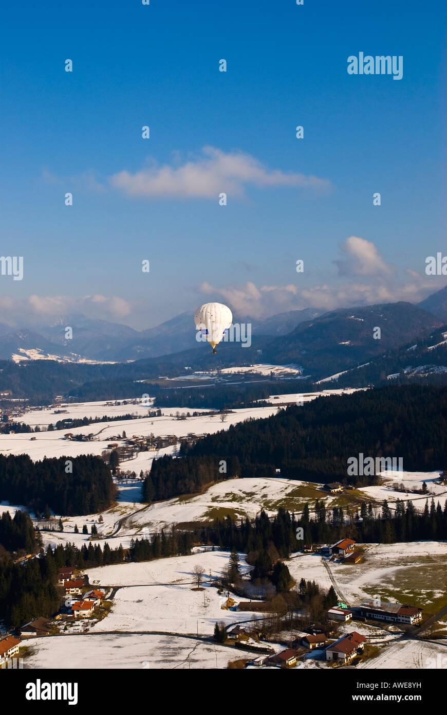 Hot air balloons over Kaiserwinkel, Tirol, Austria, Europe Stock Photo