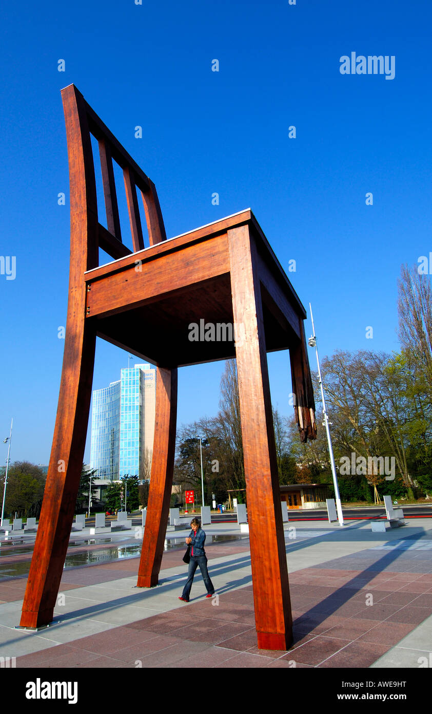 Broken chair by Daniel Berset, commissioned by Handicap International urging governments to sign Mine Ban Treaty, - Stock Image