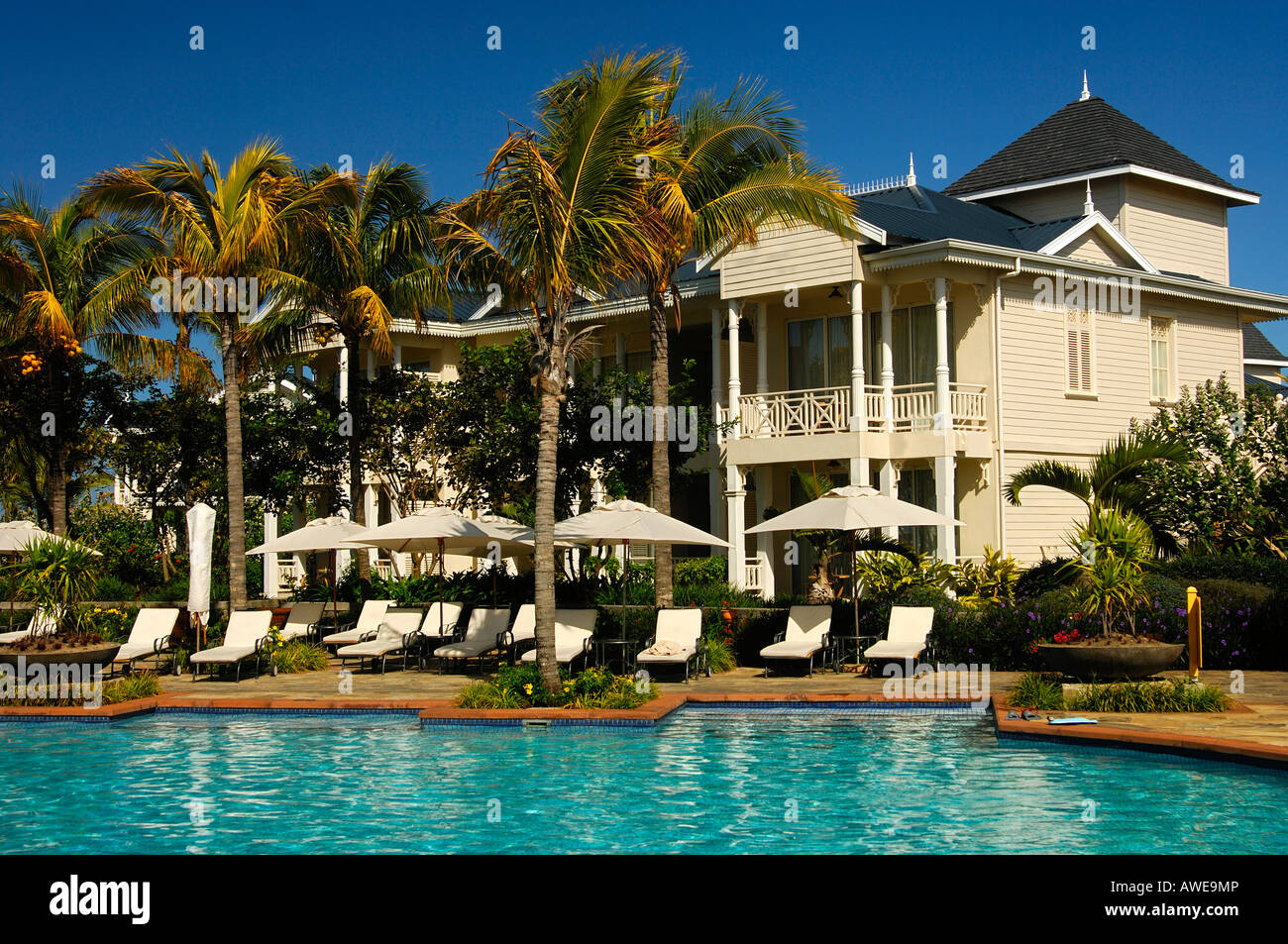 At the pool side, Resort Le Telfair, Mauritius Stock Photo