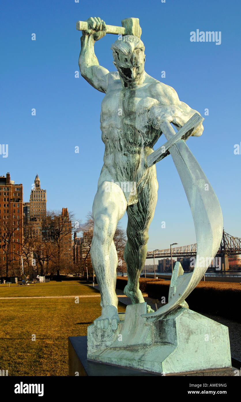 Bronze statue Let Us Beat Swords into Plowshares by E. Vuchetich, gift of the Soviet Union to the United Nations, - Stock Image