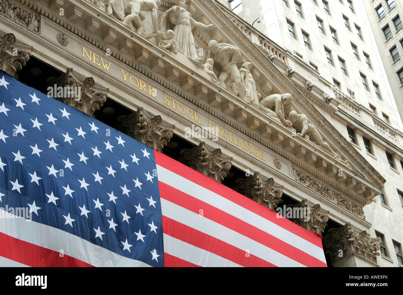 Flag of the United States of America at the New York Stock Exchange, New York, USA - Stock Image