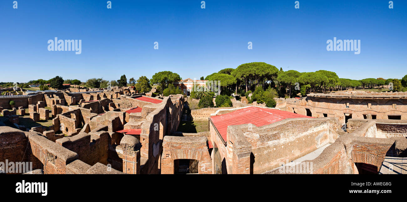 Multi-story houses in front of the museum in Ostia Antica, Rome, Italy, Europe - Stock Image