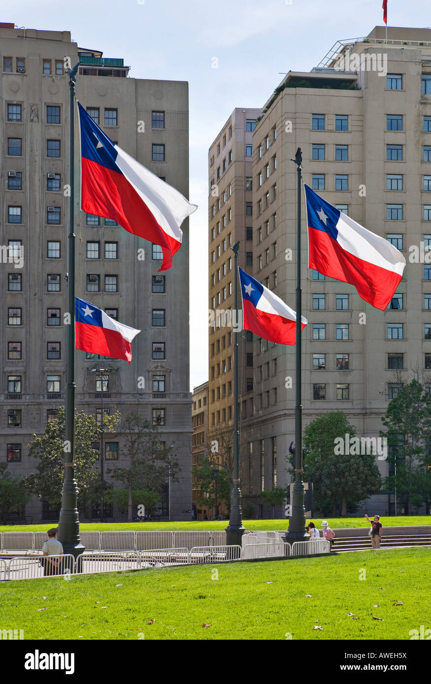 Chilean flags in front of high-rise buildings, Santiago de Chile, Chile, South America - Stock Image