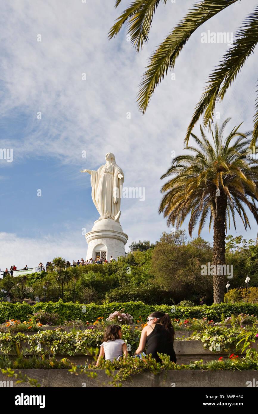 Statue of the Virgin Mary on Cerro san Cristobal hill, Santiago de Chile, Chile, South America Stock Photo