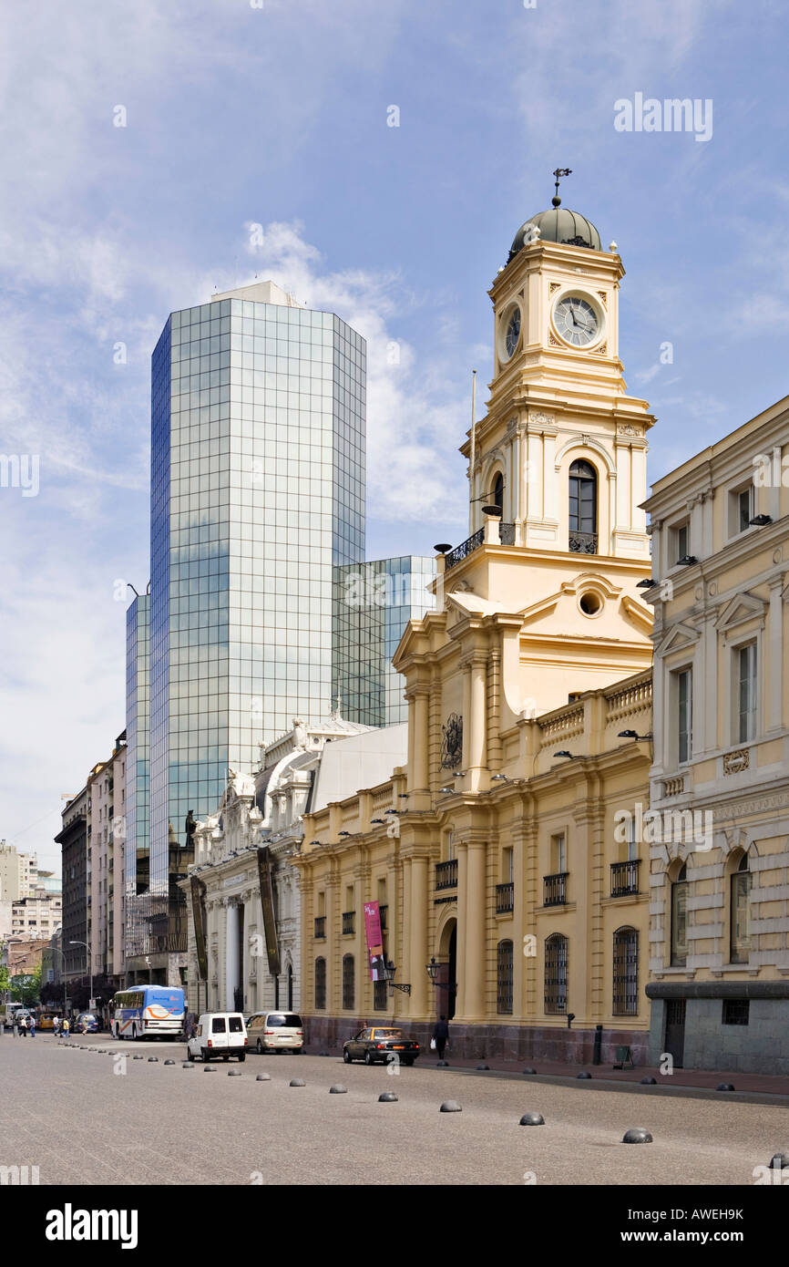 Historical National Museum and the central post office at Plaza de Armas, Santiago de Chile, Chile, South America Stock Photo