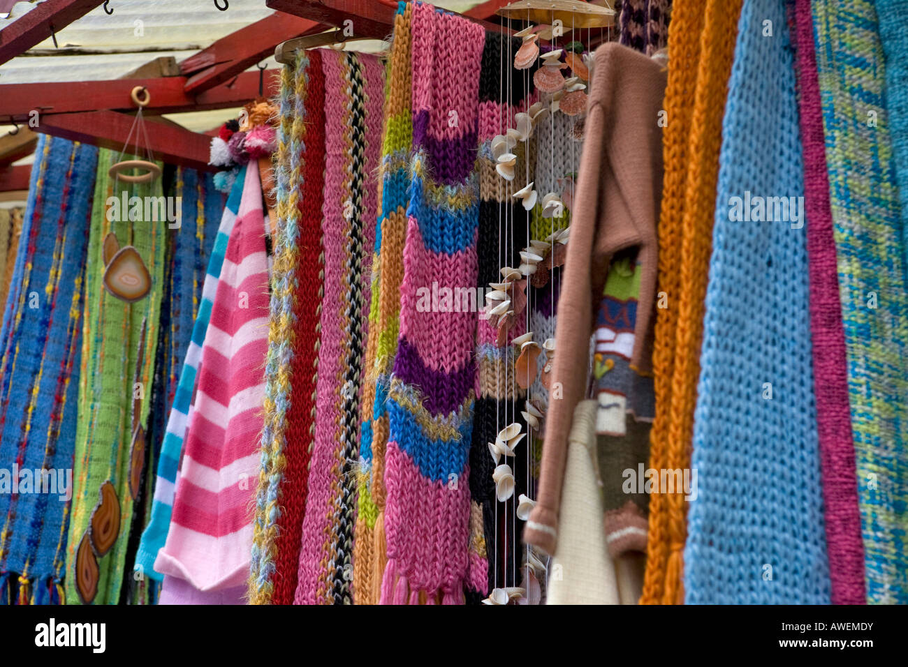 Knitted Goods For Sale At A Handicrafts Markets In Puerto Mont Stock