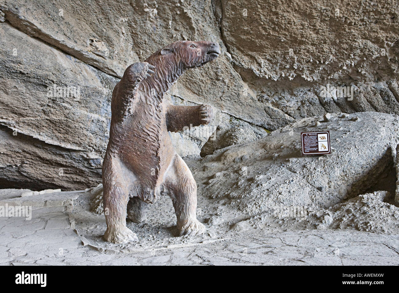 Model of a Mylodon, giant sloth species native to Patagonia, extinct for 10, 000 years, Cueva del Milodon (Mylodon - Stock Image