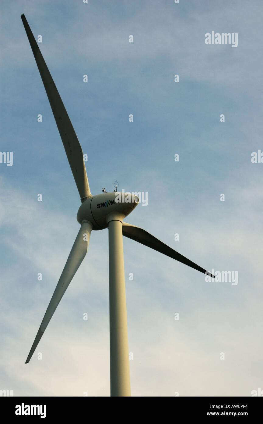 Wideshot top of wind turbine Mast - Stock Image