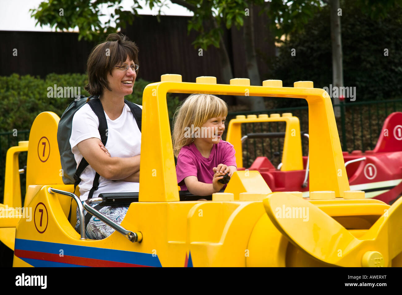 Mom and daughter on a ride Legoland Carlsbad, California, USA Stock Photo