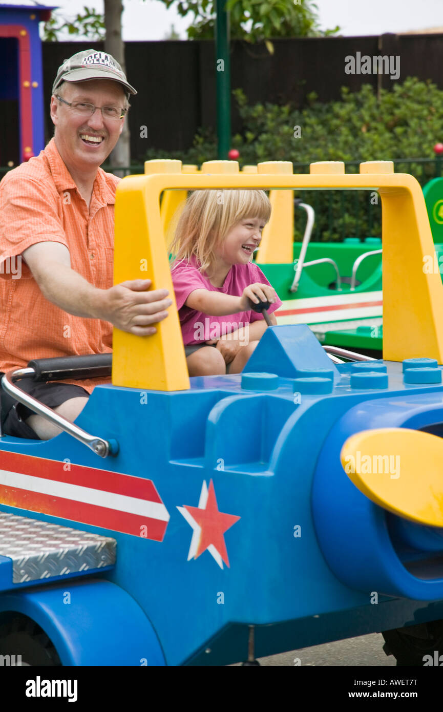 Dad and daughter on a ride Legoland Carlsbad, California, USA Stock Photo