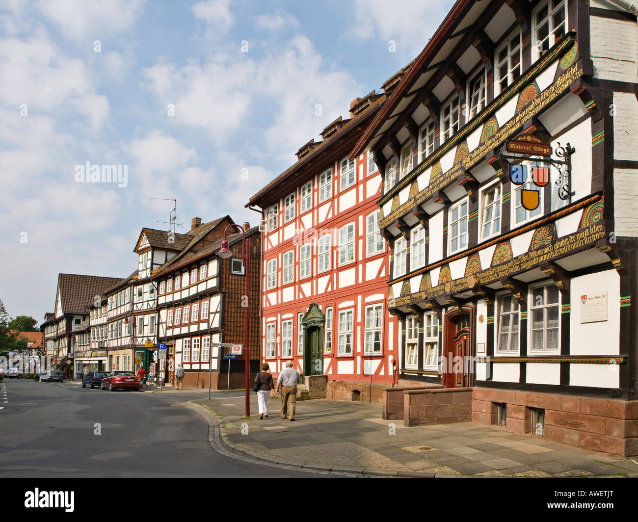 Renaissance townhouse built 1611 (ight) and Rococo townhouse built 1769 (left), Einbeck, Lower Saxony, Germany, - Stock Image