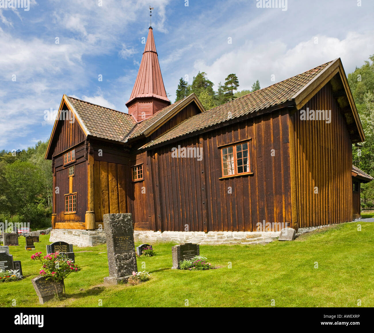 Thirteenth-century stave church in Rollag, Numedal, Norway, Scandinavia, Europe Stock Photo