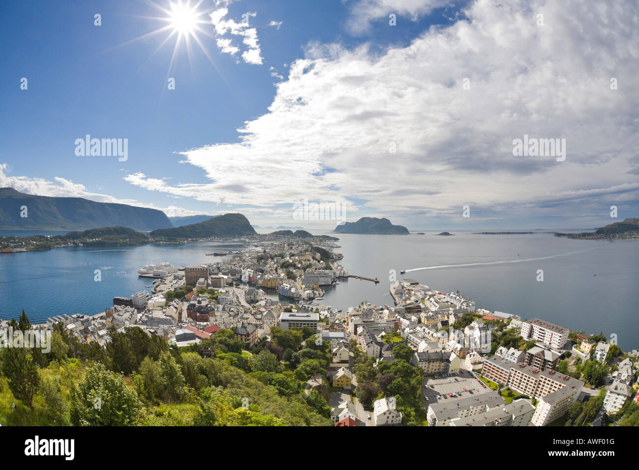 View of the city from Aksla Hill, Ålesund, Norway, Scandinavia, Europe Stock Photo