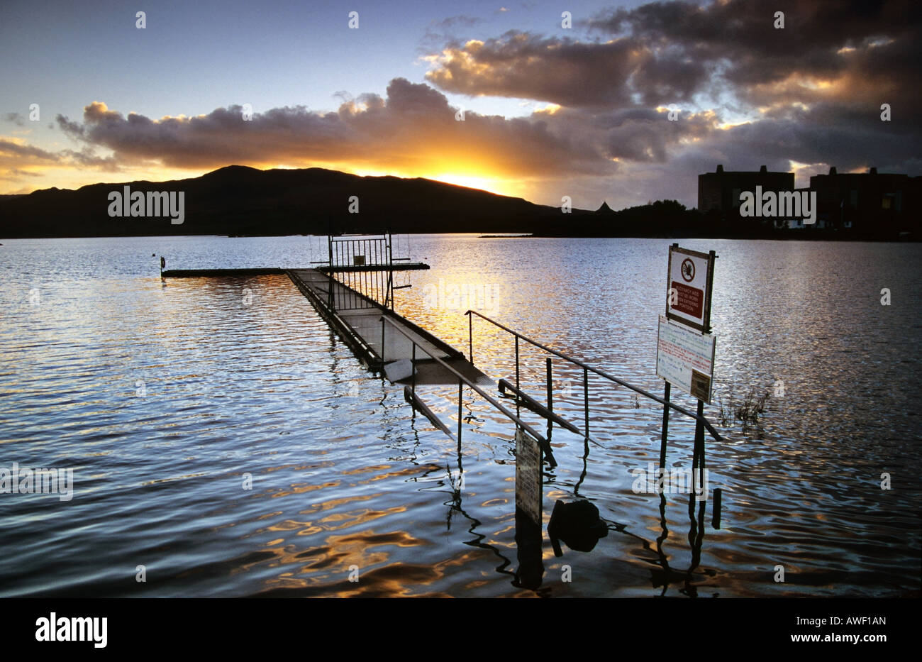 Sunset over Lake Trawsfynydd and the redundant Trawsfynydd Nuclear Power Station, Wales Stock Photo