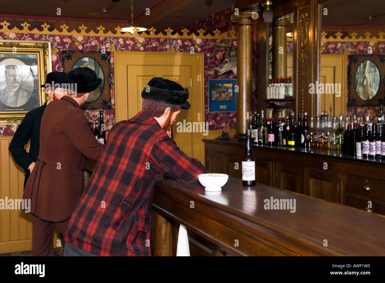 Interior view of a saloon in Skagway Alaska USA - Stock Image