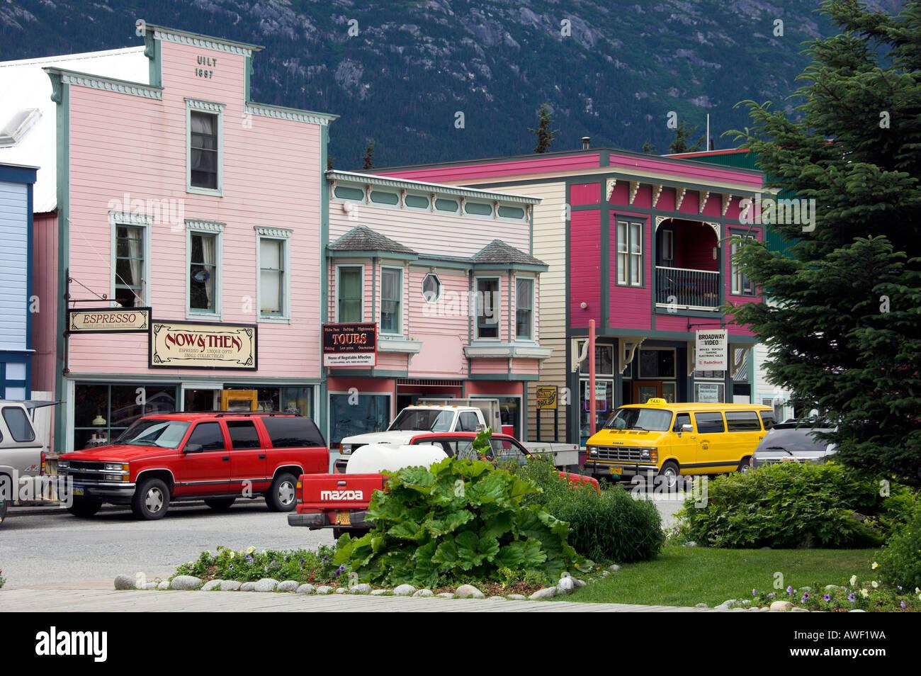 Skagway Alaska street scene of historic buildings and modern Stock ...