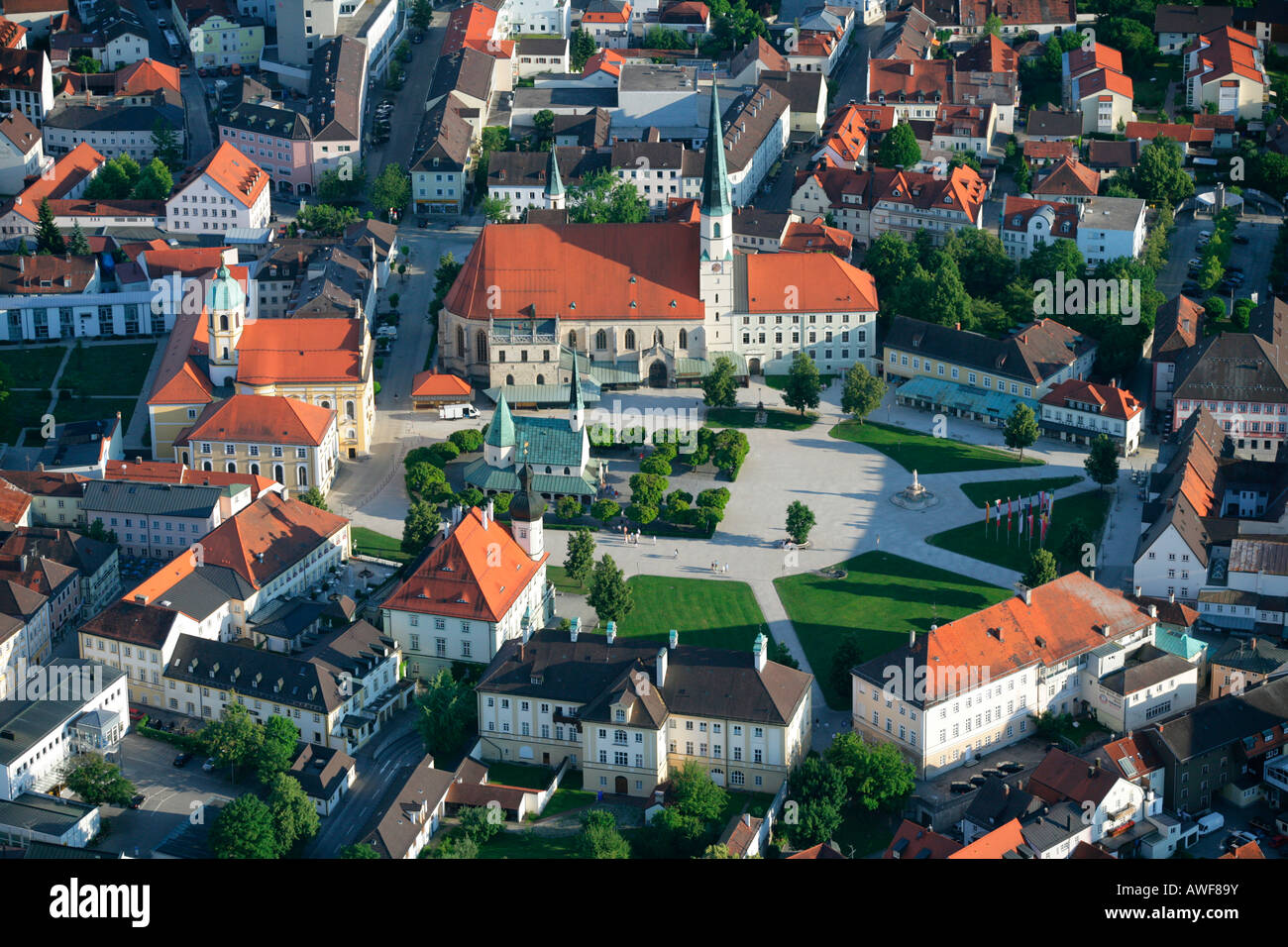 Aerial view of Grace Chapel (Gnadenkapelle) and Chapel Square in the pilgrimage town of Altoetting, Upper Bavaria, - Stock Image