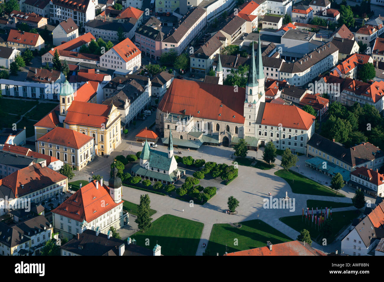 Aerial view of Grace Chapel (Gnadenkapelle) and Chapel Square in the pilgrimage town of Altoetting, Upper Bavaria, Stock Photo
