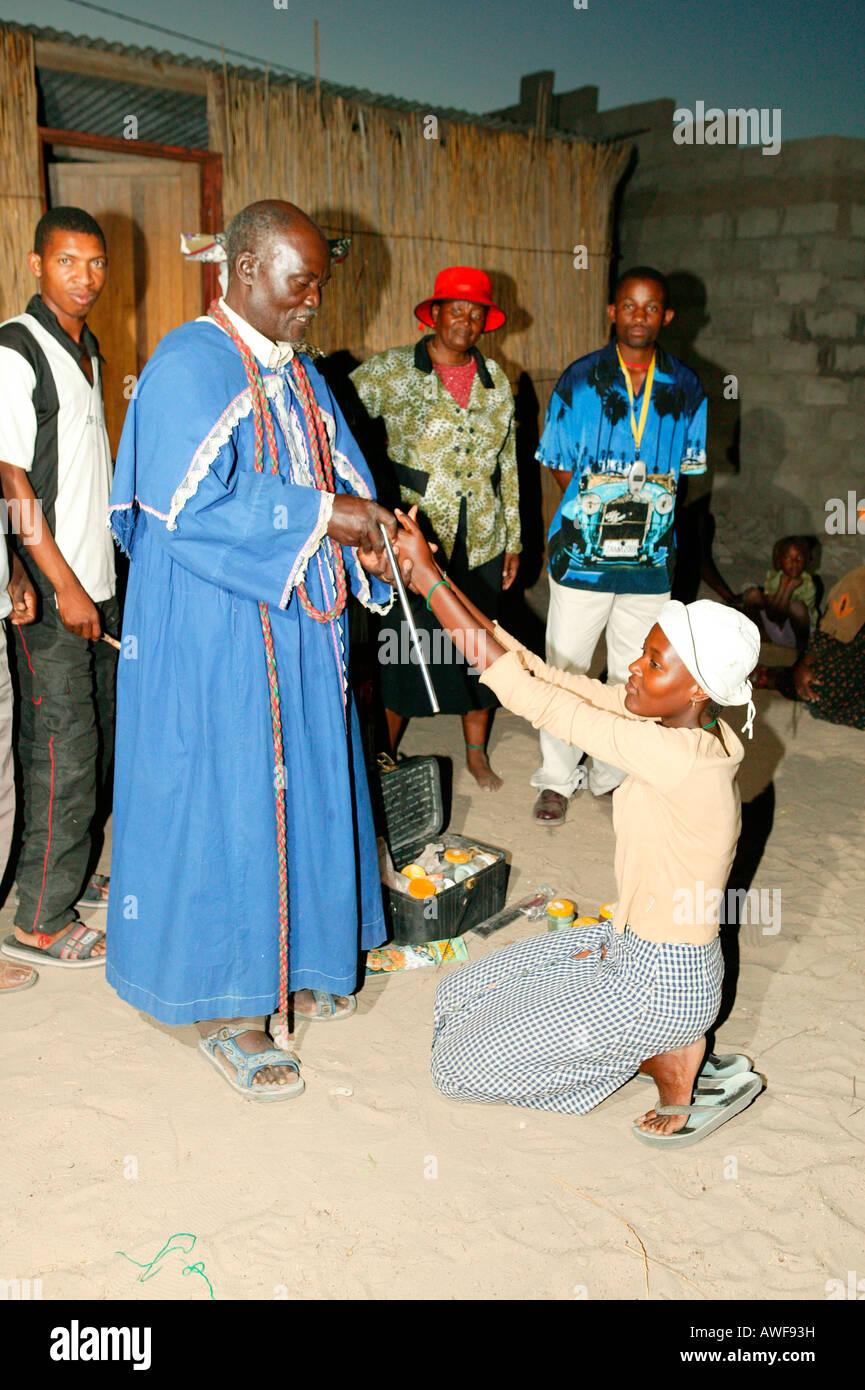Faith healer, Pentecostal community, Sehitwa, Botswana, Africa - Stock Image