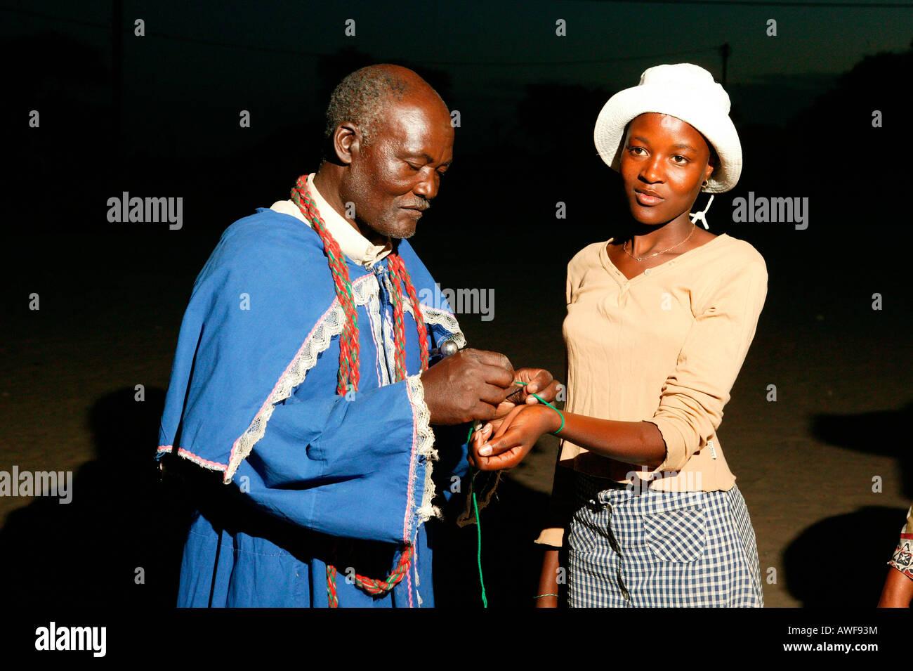 Faith healer, Pentecostal community, Sehitwa, Botswana, Africa Stock Photo