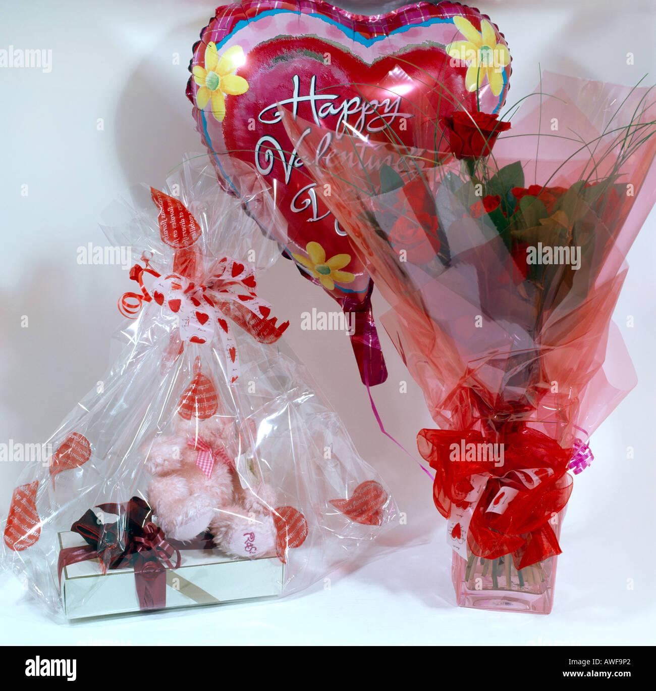 Happy Valentines Day Balloon Roses Teddy Bear Chocolates Stock