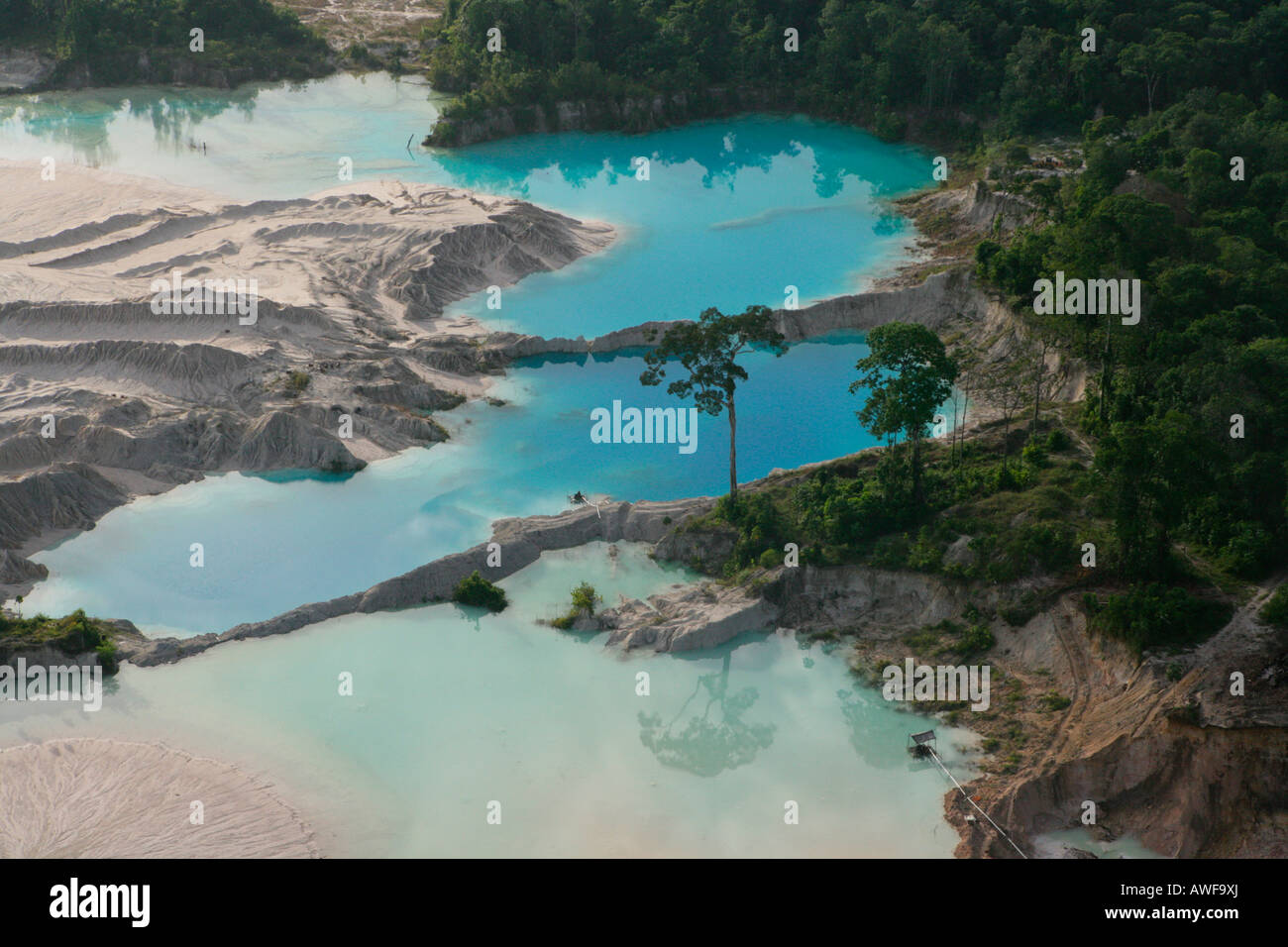 Aerial shot, silting the rainforest after mining, Guyana, South America Stock Photo