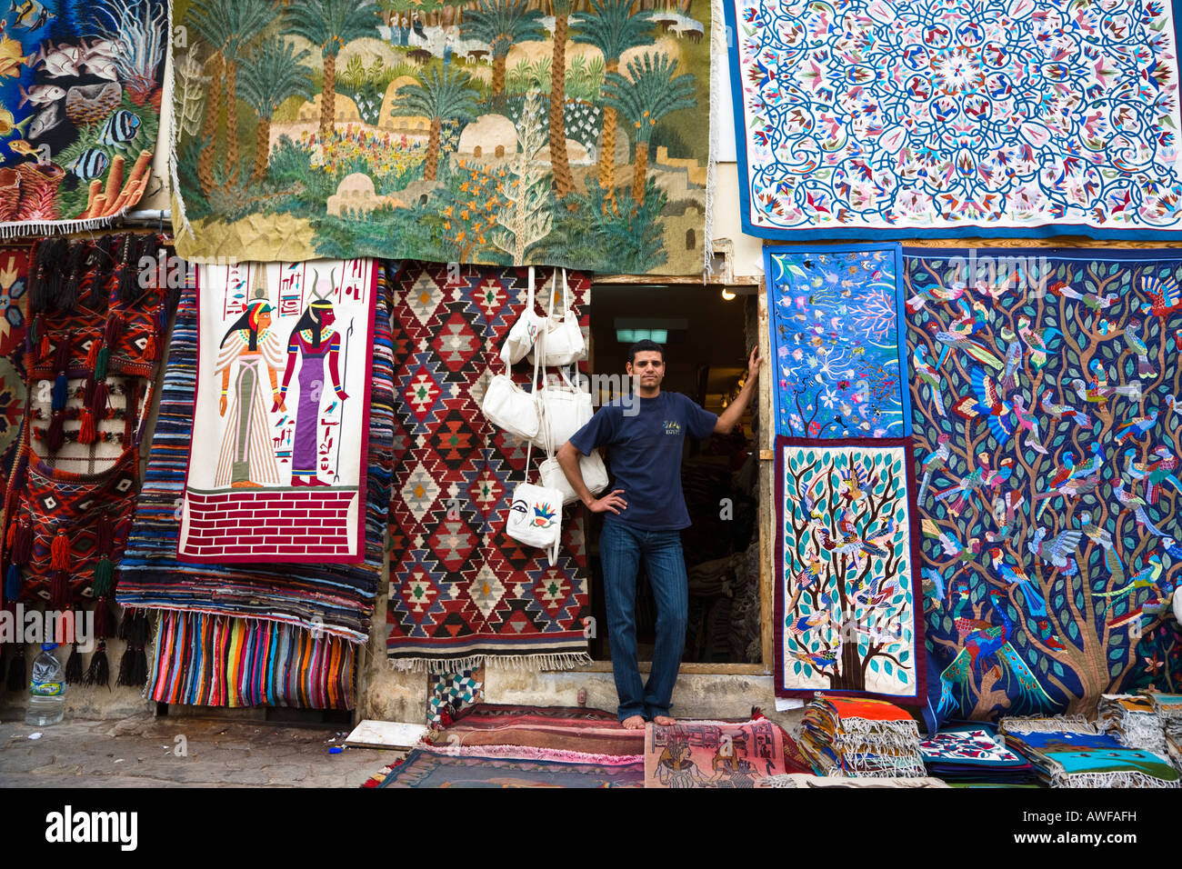 Carpet shop and owner Old Sharm Sinai Egypt - Stock Image