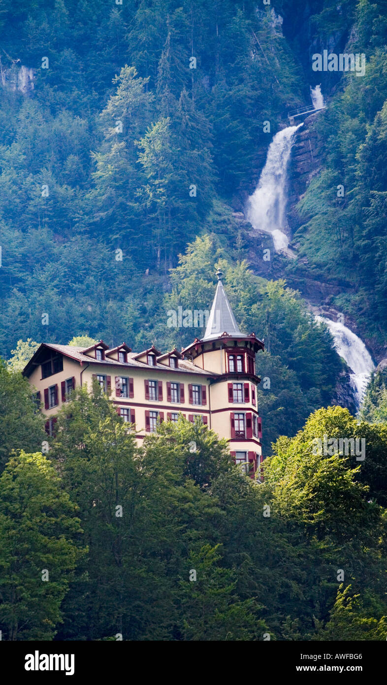 Giessbach Grandhotel and the Giessbach falls near Brienz, Switzerland Stock Photo