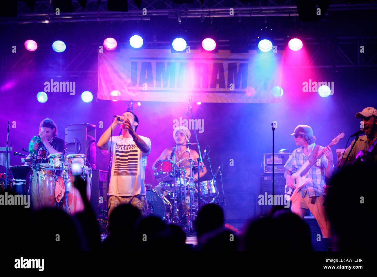 'JAMARAM' reggae band, reggae concert in Muehldorf am Inn, Upper Bavaria, Bavaria, Germany, Europe - Stock Image
