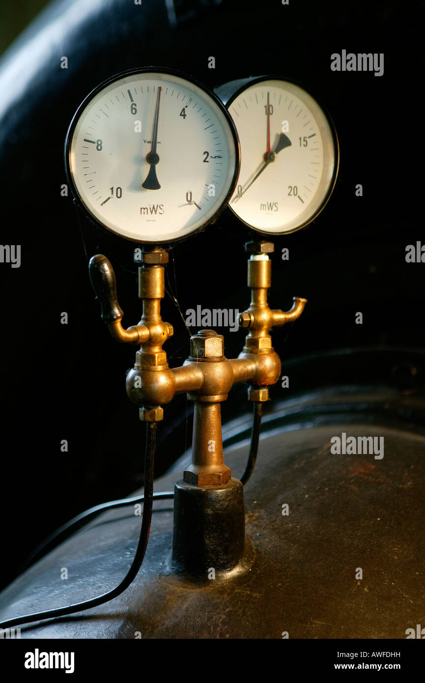 Water pressure gauge at an old hydroelectric power station