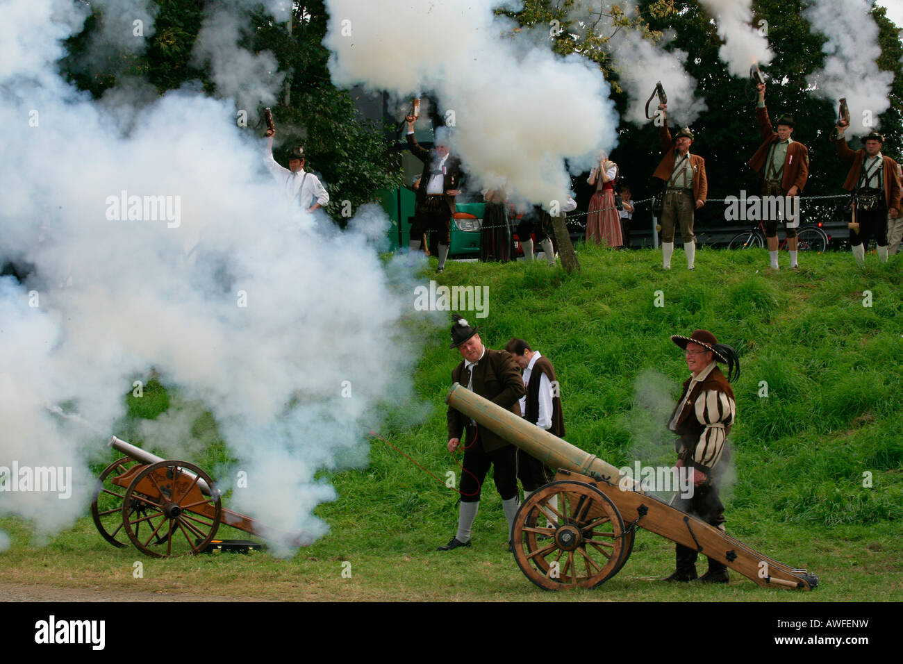 Gun salutes being fired from cannons at a folk festival in Muehldorf am Inn, Upper Bavaria, Bavaria, Germany, Europe Stock Photo
