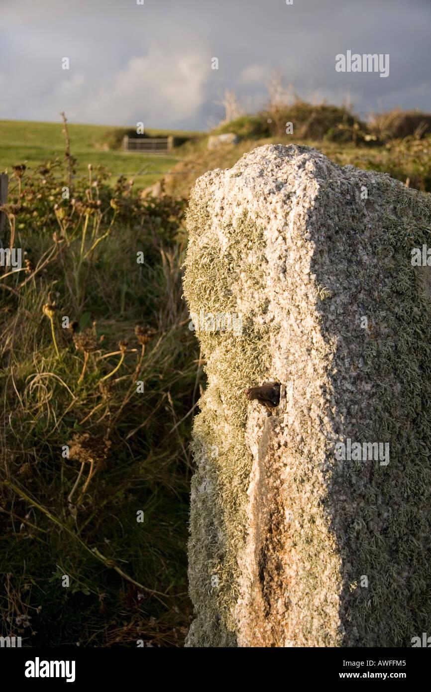 Country Gatepost Gunwallow Cornwall UK - Stock Image