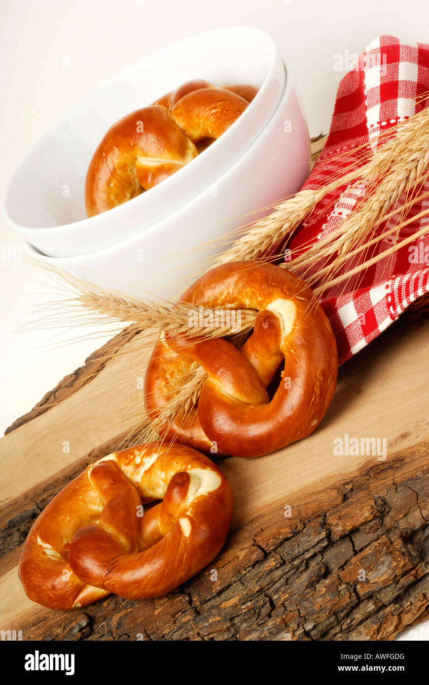 Pretzels and grain ears Stock Photo
