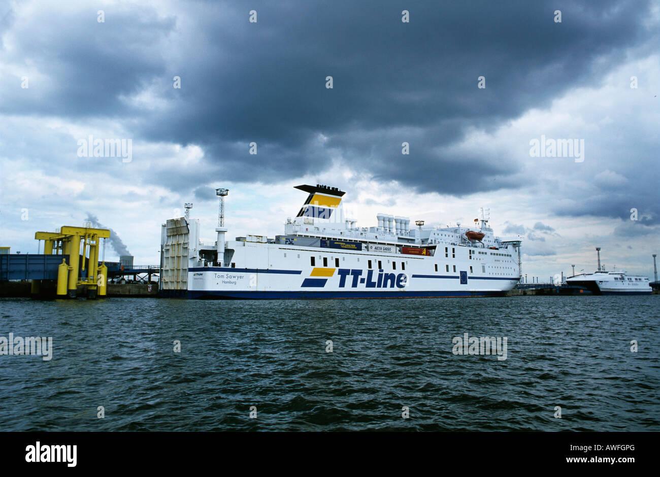Car ferry on the Baltic Sea, Mecklenburg-Western Pomerania, Germany, Europe - Stock Image
