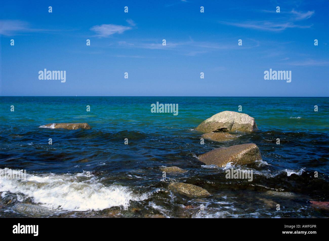 Rocks in the surf, Baltic Sea, Ruegen Island, Mecklenburg-Western Pomerania, Germany, Europe - Stock Image