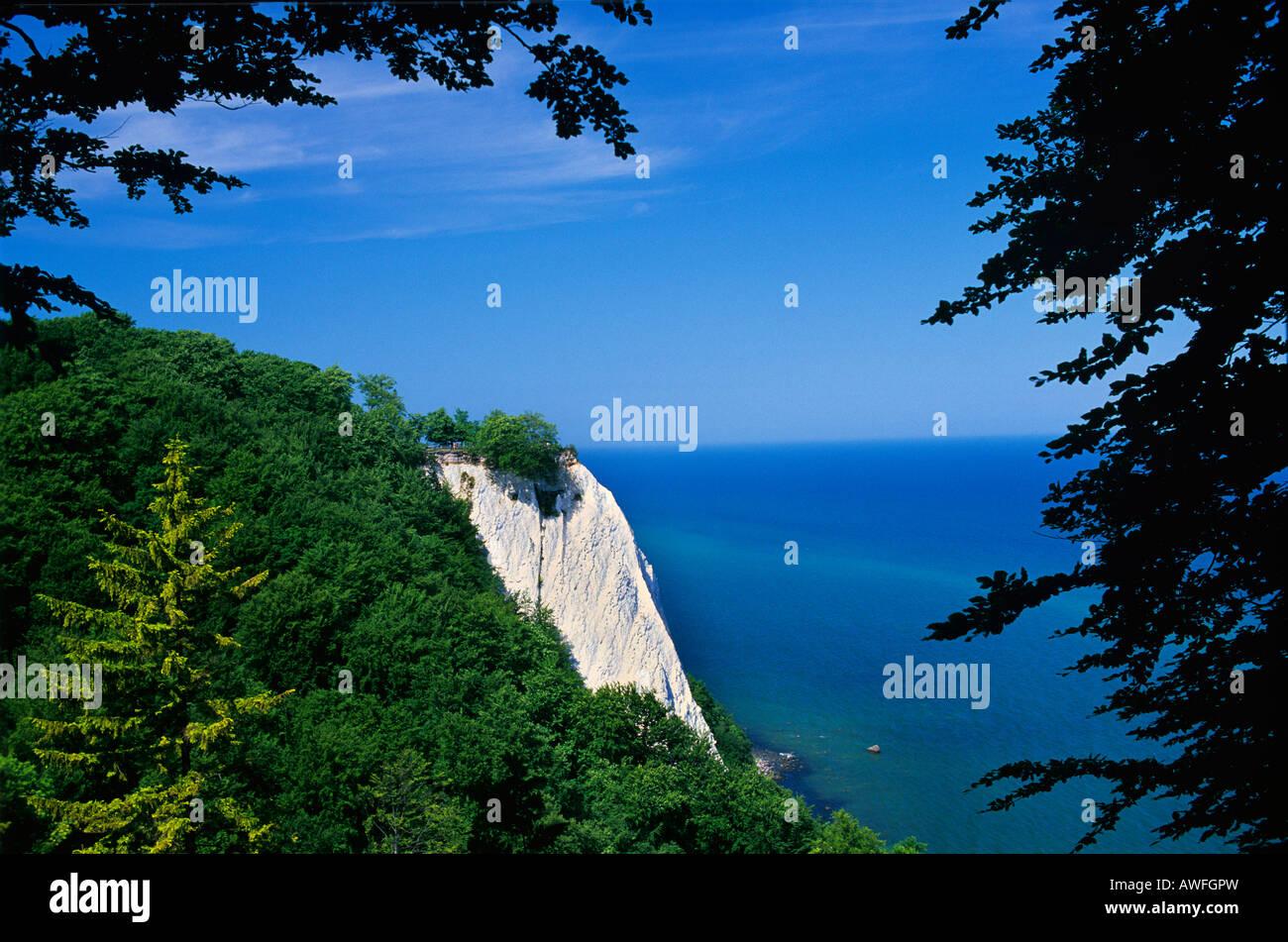 View of the Koenigstuhl rock formation, Jasmund National Park, Ruegen Island, Mecklenburg-Western Pomerania, Germany, - Stock Image