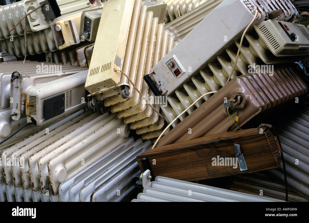 Pile of discarded heaters, Germany, Europe - Stock Image