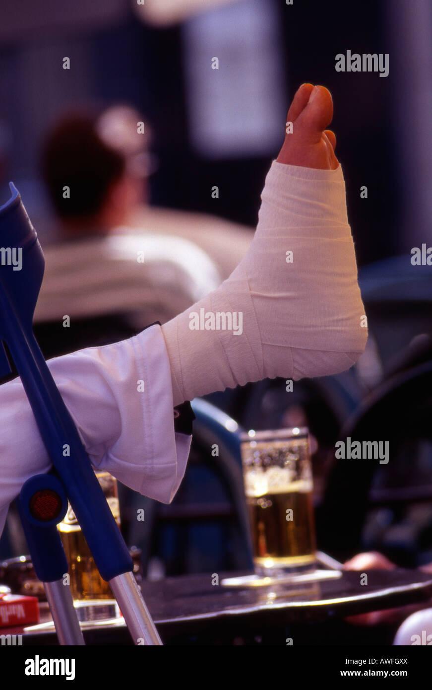 Bandaged foot - Stock Image