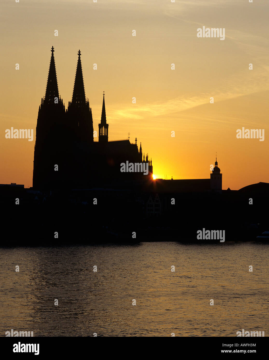 Cologne Cathedral and the Rhine River, backlit, Cologne, North Rhine-Westphalia, Germany, Europe - Stock Image