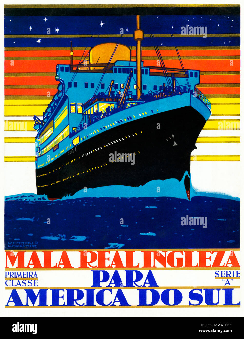 Royal Mail Line 1930s Portugese poster for the Transatlantic service to South America by the English line Stock Photo