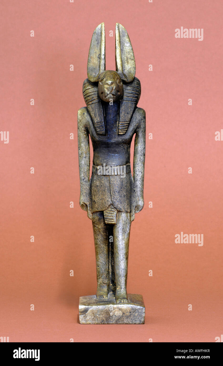 Antique statue of anubis, Egyptian god of embalmment - Stock Image