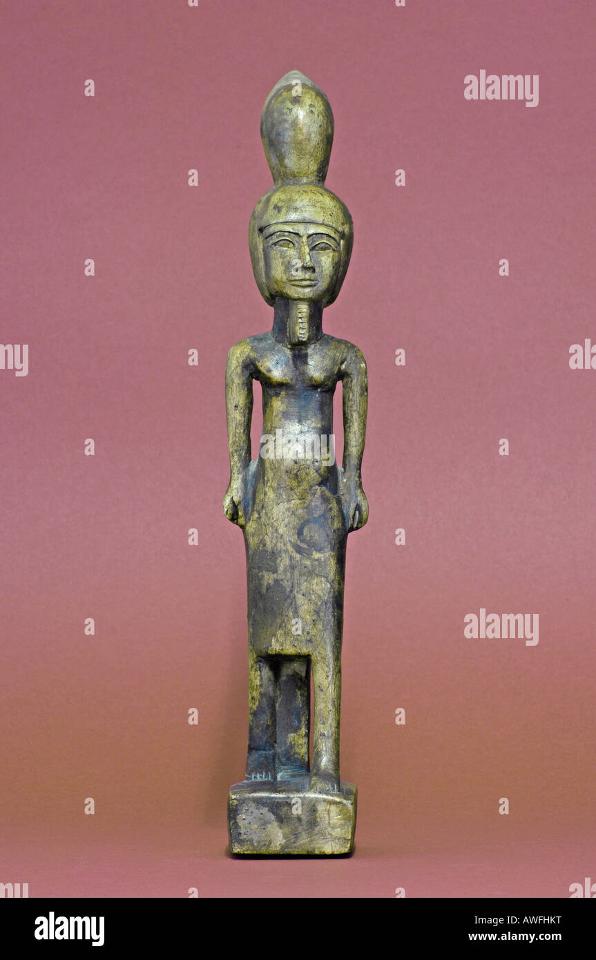Antique statue of amun, Egyptian god of the wind and fruitfulness - Stock Image
