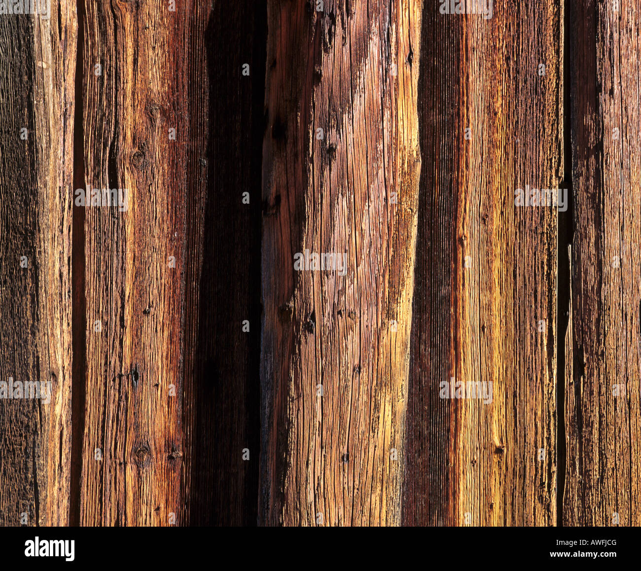 Weathered old wood barn, close-up - Stock Image