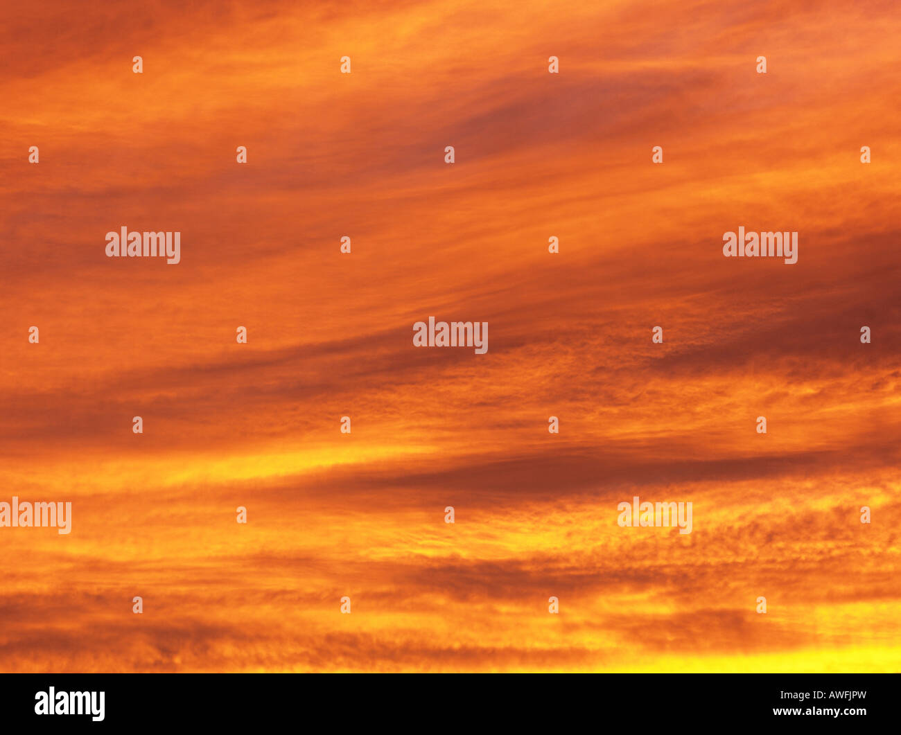 'Twilight of the Gods': evening sky set on fire - Stock Image