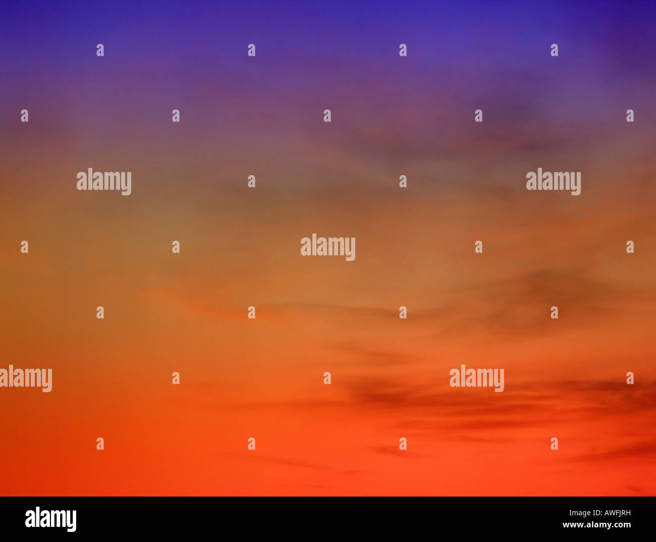 Glowing evening sky - Stock Image