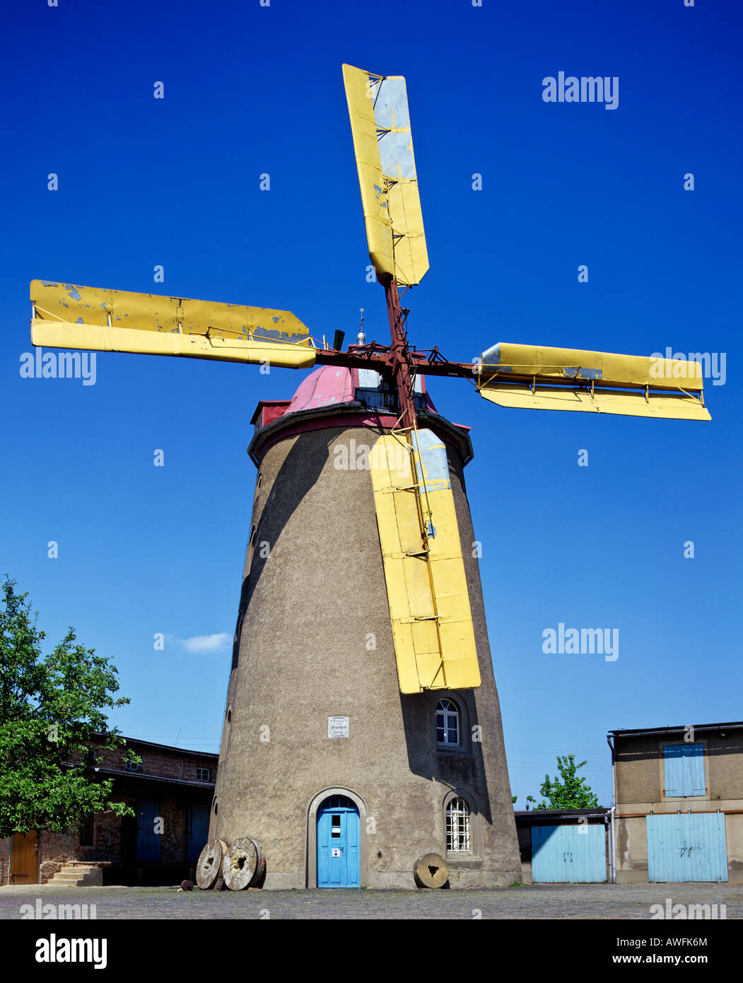 Windmill in Saxony, Germany, Europe - Stock Image