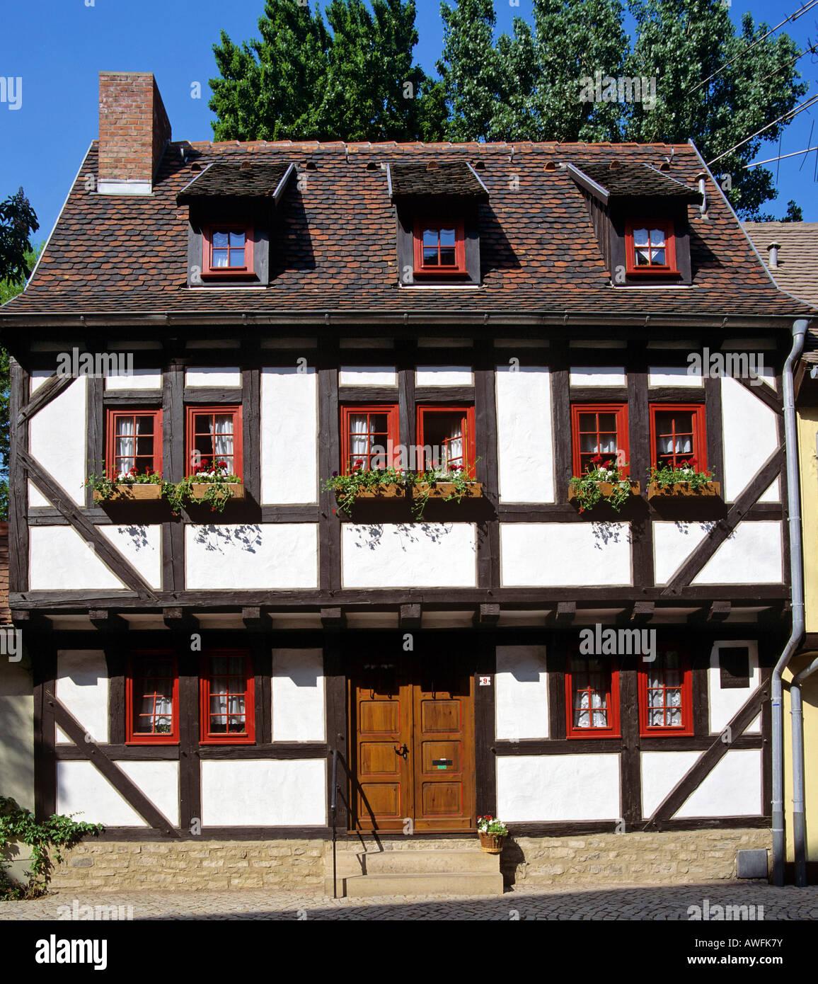 Fachwerk-style house in Erfurt, Thuringia, Germany, Europe - Stock Image