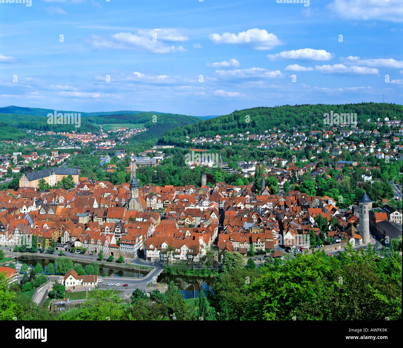 Panoramic shot of Hannoversch Muenden, Weserbergland, Lower Saxony, Germany, Europe - Stock Image