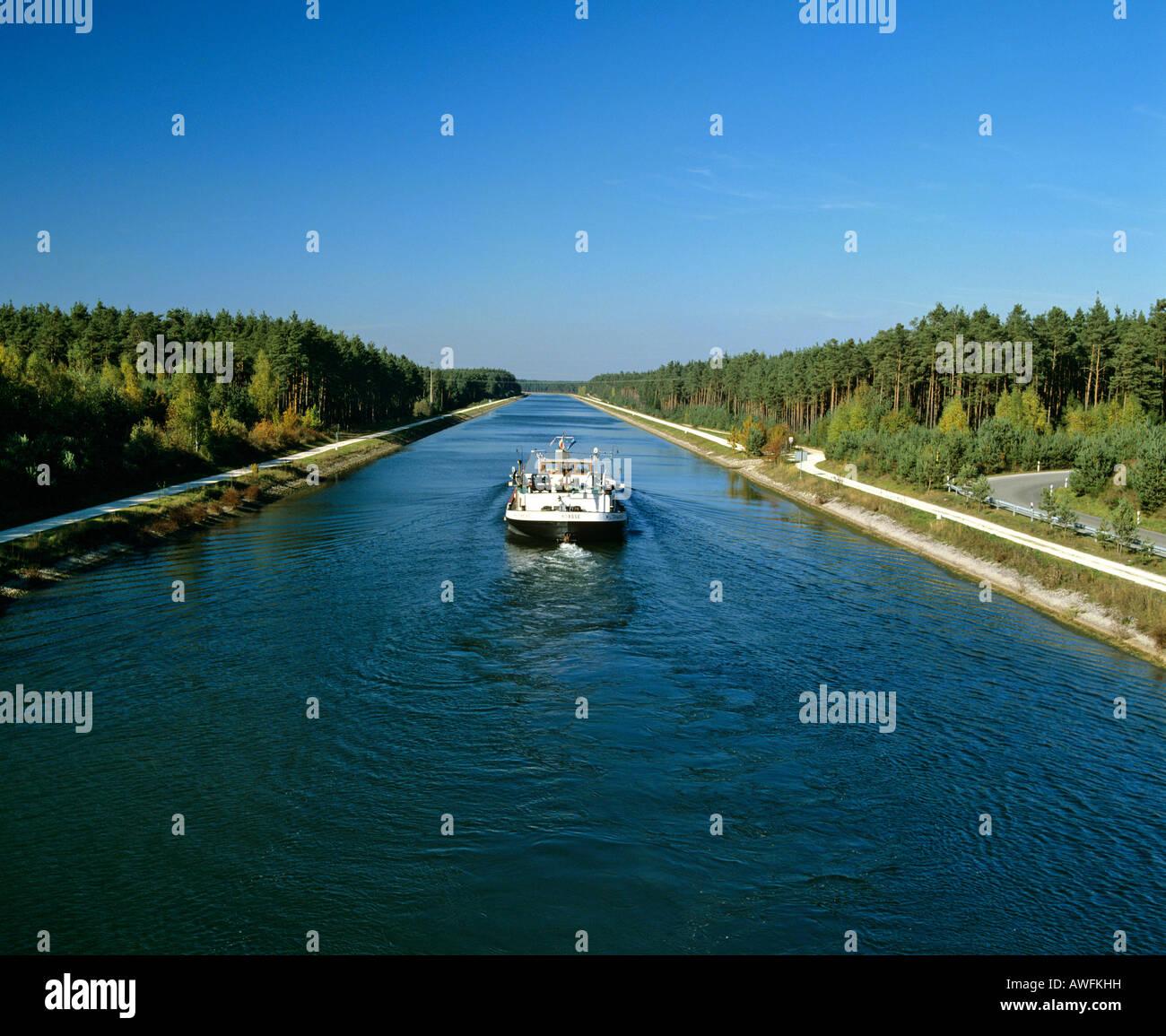 Boat on the Main-Danube-Canal near Nuremberg, Franconia, Bavaria, Germany, Europe Stock Photo