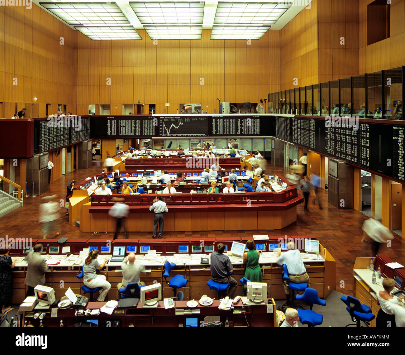 1999 interior view of the Frankfurt Stock Exchange (DAX) in Frankfurt, Hesse, Germany, Europe - Stock Image